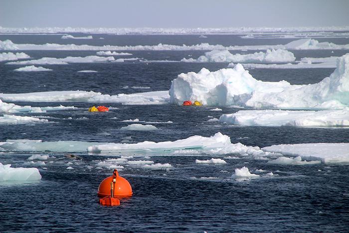 A mooring appears at the ocean's surface.  Fotos von der Polarstern-Expedition ARK-XXVII-1 im Sommer 2012 (14. Juni - 15. Juli 2012, Bremerhaven-Longyearbyen);  Forschungsschwerpunkte:   Ozeanografie: Projekt ACOBAR - Messung von Salzgehalt, Sauerstoff und Wassertemperatur an 80 Stationen entlang eines Schnittes bei 78°50' N;  Biologie: Netzfänge und Sedimentprobennahme an den Stationen; Amphipoden-Untersuchungen (PECABO); Beobachtungen von Seevögeln und Meeressäugern;   engl:   Photo taken by Sebastian Menze during the Polarstern expedition ARK-XXVII-1 in summer 2012 into the Fram Strait, duration: 14th June - 15th July 2012